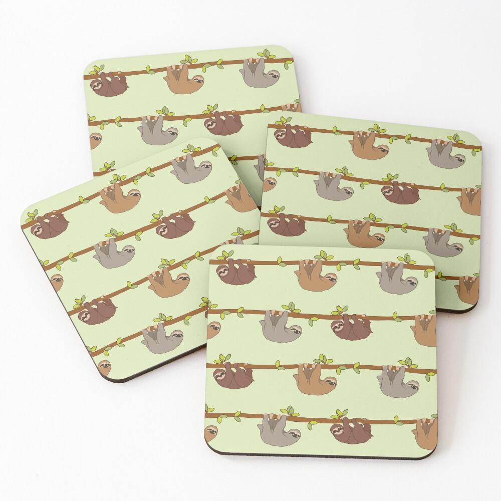 Sloths emoji pattern Coasters (Set of 4)