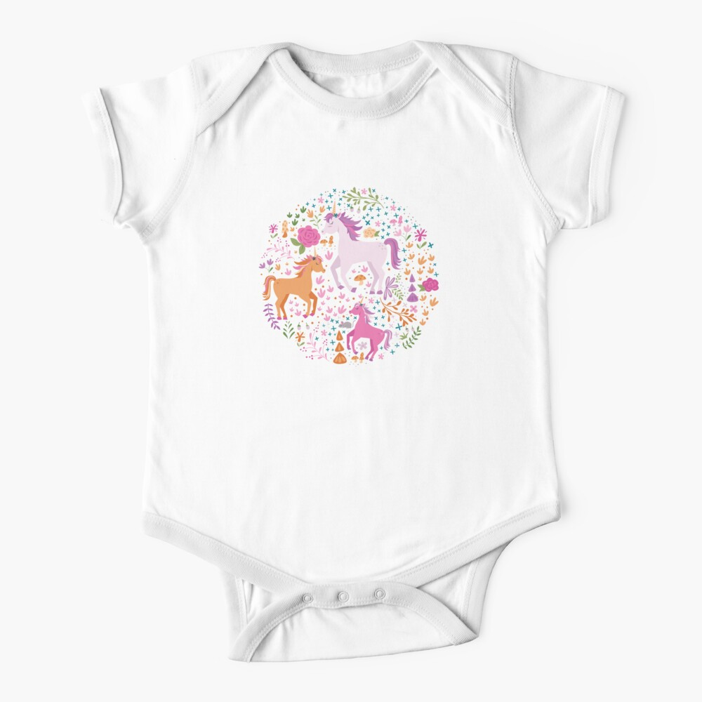 Unicorns in the Flower Garden Baby One-Piece