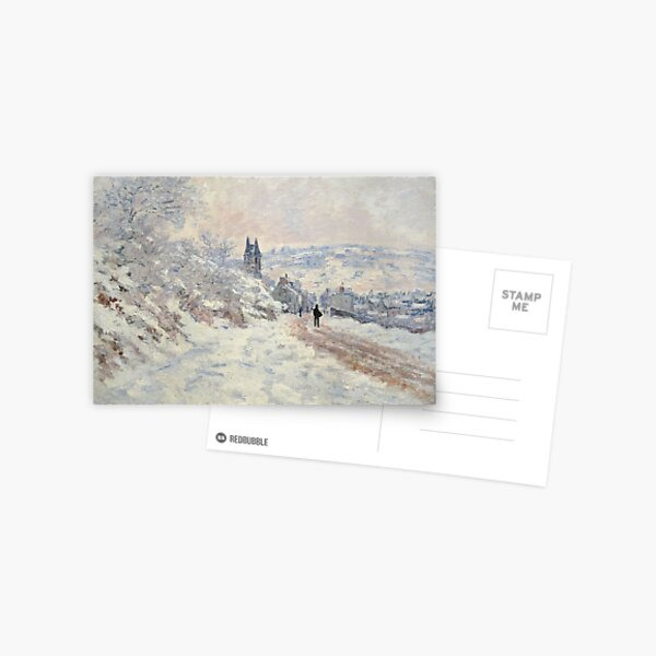 Claude Monet The Road to Vetheuil, Snow Effect 1879 Postcard