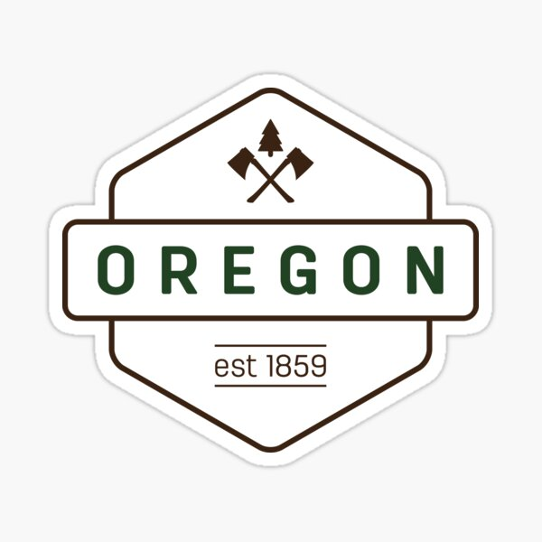 Oregon Axe Badge Sticker