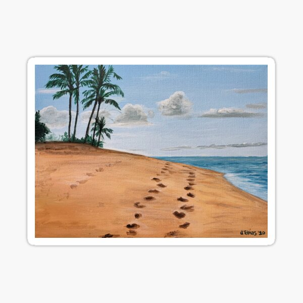 Footsteps on The beach Sticker