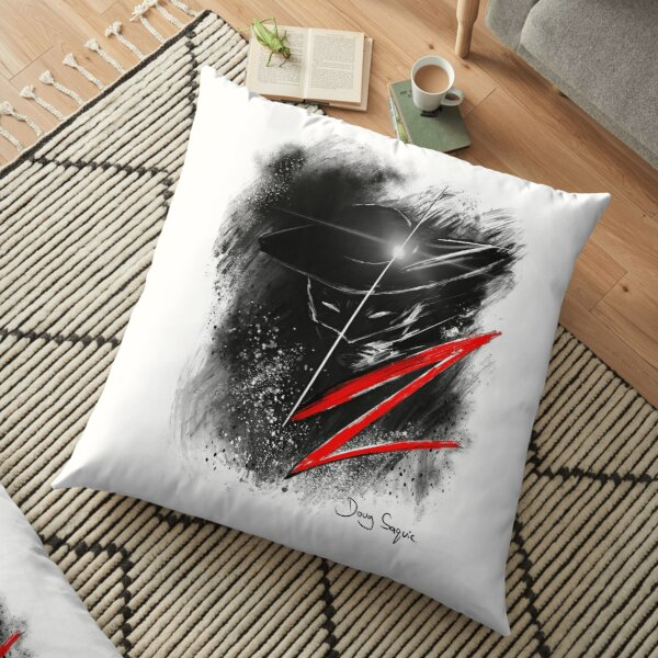 Zorro Black White and Red Floor Pillow