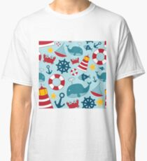 Nautical Themed Background Classic T-Shirt