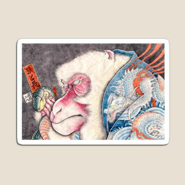 A Happy New Year Card 2016 Monkey and Longers Magnet