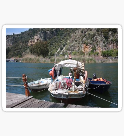 A Turkish Fishing Boat on the Dalyan River Sticker