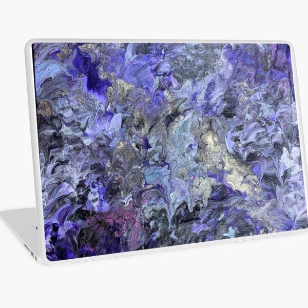 Silver Purple Abstract Waves Acrylic Art Laptop Skin