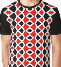 Decorative Red Black and White Pattern Graphic T-Shirt