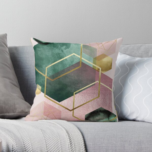 Emerald Green and Pink Geo No 1 Throw Pillow