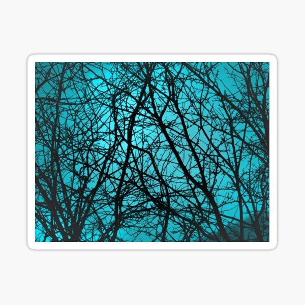 Branch silhouette, light blue Sticker