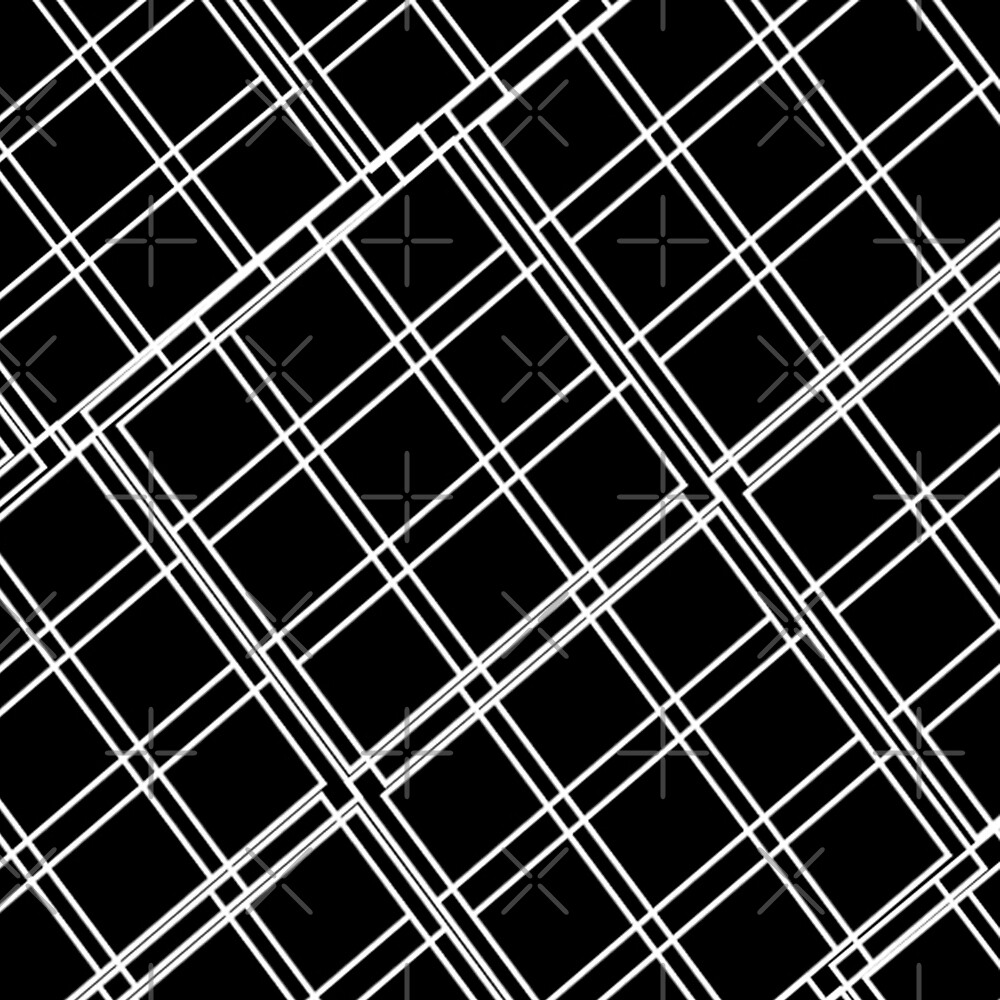 BLACK AND WHITE PATTERN BLACK BLOCKS AS DIAMONDS WITH THIN WHITE STRIPES  DESIGNED BY OZCUSHIONSTOO by ozcushionstoo