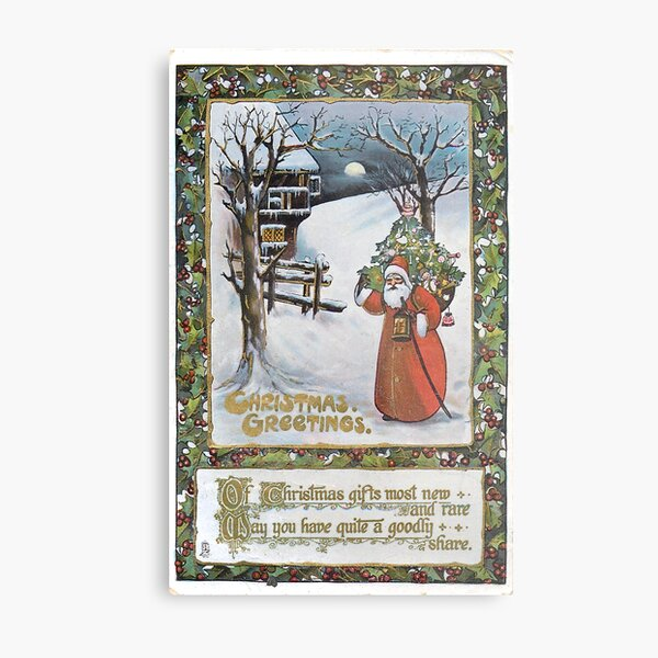 Vintage Santa Claus Postcard Metal Print