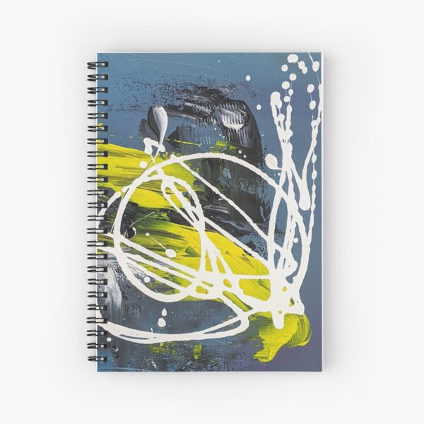 Dynamic Blue, Yellow, White Abstract Loops Acrylic Art Spiral Notebook