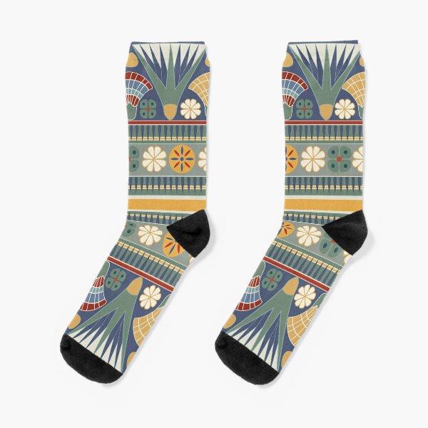 Classic ancient Egyptian Lotus frieze Socks