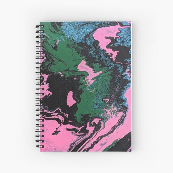 Retro 90s Nostalgia Black Abstract Acrylic Pour Art Spiral Notebook