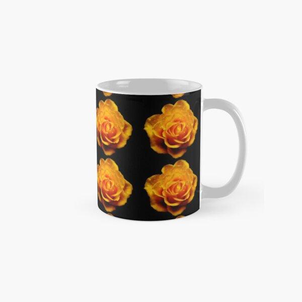 Glimmery Yellow Roses On Black Classic Mug