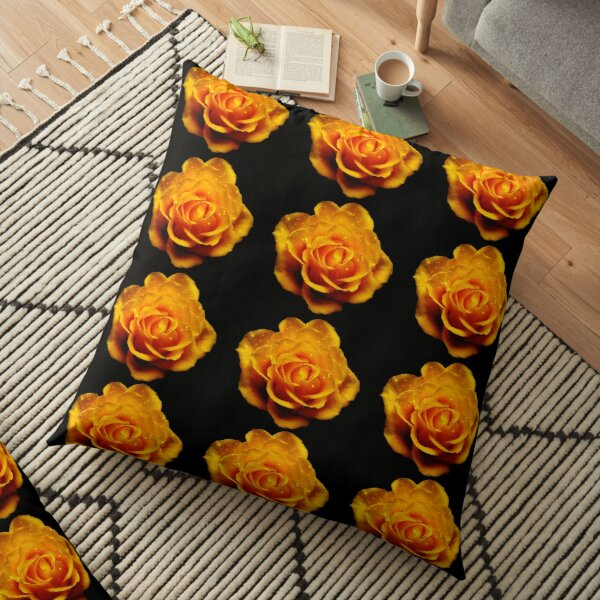 Glimmery Yellow Roses On Black Floor Pillow