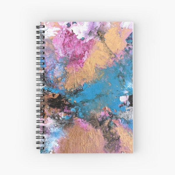 Copper, Pink, Blue, White Textured Fluid Acrylic Art Spiral Notebook