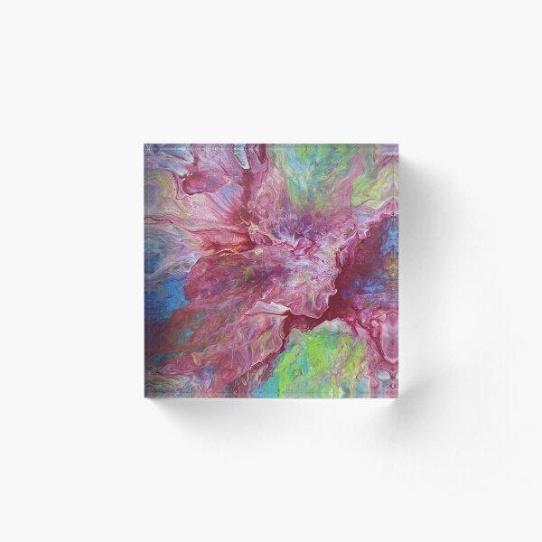 Vibrant Red Spray Abstract Fluid Acrylic Pour Art Acrylic Block