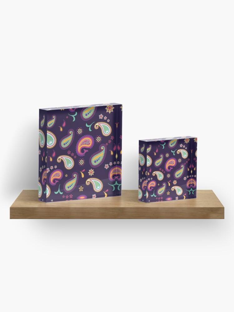 Alternative Ansicht von Bunte Paisley Blumen Lila  Blau Pink Orange Pink Grün & Gelb - Florales Muster Acrylblock