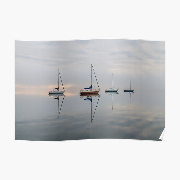 Clouds, boats and reflections Poster