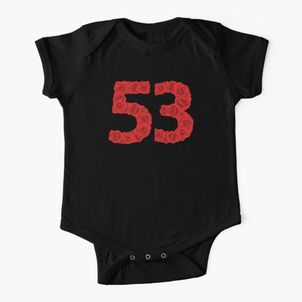 Red Love Romantic Roses Lucky Fifty-Three Number is 53  Short Sleeve Baby One-Piece
