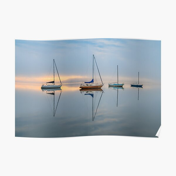 Clouds, boats and reflections on a foggy morning Poster