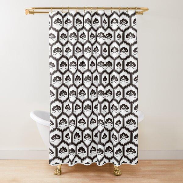 Japanese traditional pattern :: Kikkou ni Matsu (Pine tree in Tortoise shell) Shower Curtain