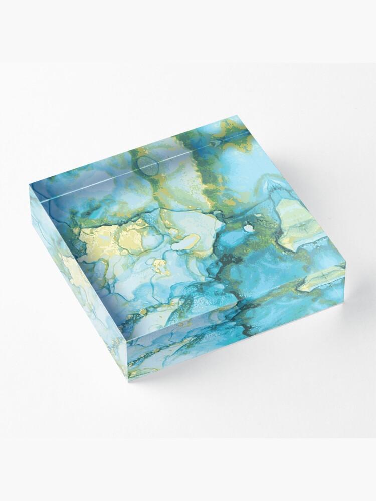 Alternative Ansicht von Edles Aquarell Marmor Design Blau Gelb Gold - abstraktes Wasserfarben Muster Acrylblock