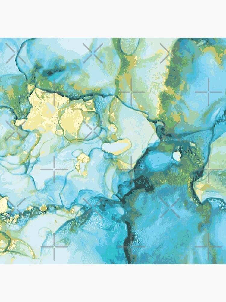 Edles Aquarell Marmor Design Blau Gelb Gold - abstraktes Wasserfarben Muster von brainbubbles