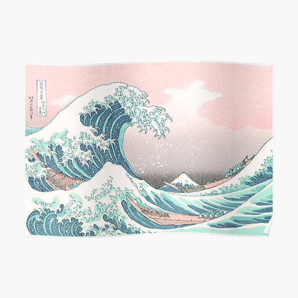The Great Wave off Kanagawa - Hokusai - Pastel Pink Color Poster