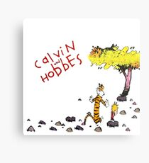 Playing with best friend Calvin and Hobbes Metal Print