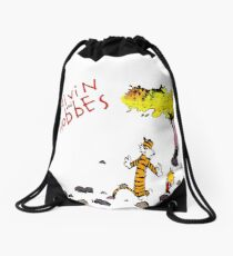 Playing with best friend Calvin and Hobbes Drawstring Bag