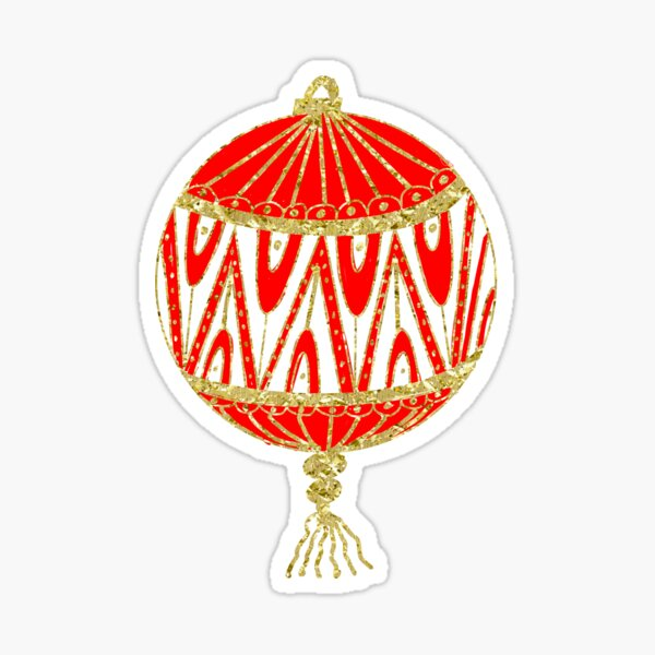 Red and Gold Christmas ornament Sticker