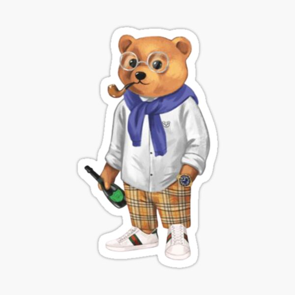 Teddy Bear Champagne Party Sticker