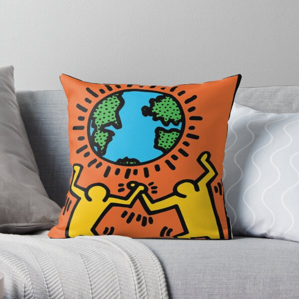 Keith Haring World Throw Pillow
