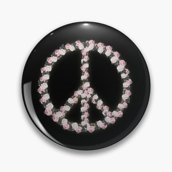 Peace with Rose flowers art Pin