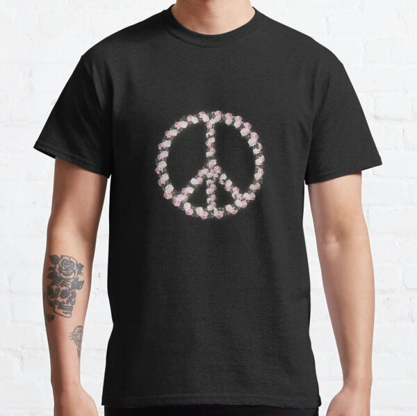 Peace with Rose flowers art Classic T-Shirt