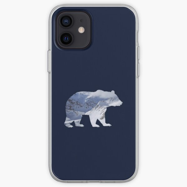 Bear with mountain landscape summits iPhone Soft Case
