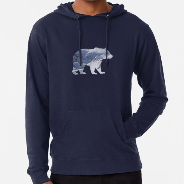 Bear with mountain landscape summits Lightweight Hoodie