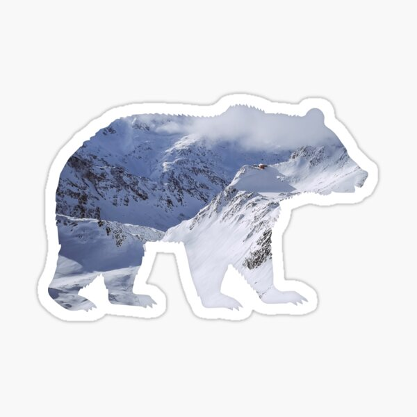 Bear with mountain landscape summits Sticker