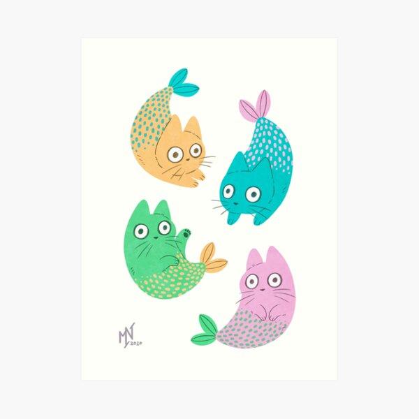Pastel Purrmaids Art Print