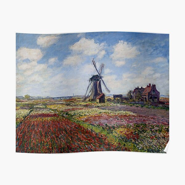 Tulip Fields With The Rijnsburg Windmill by Claude Monet Poster