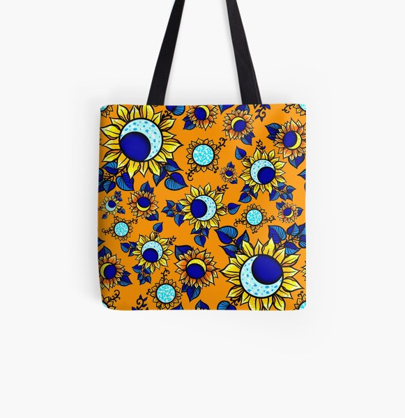 Moon Flower Summer Magic, in Orange All Over Print Tote Bag