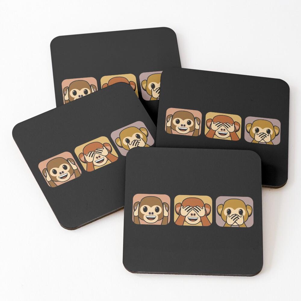 Three brown wise monkeys emojis Coasters (Set of 4)