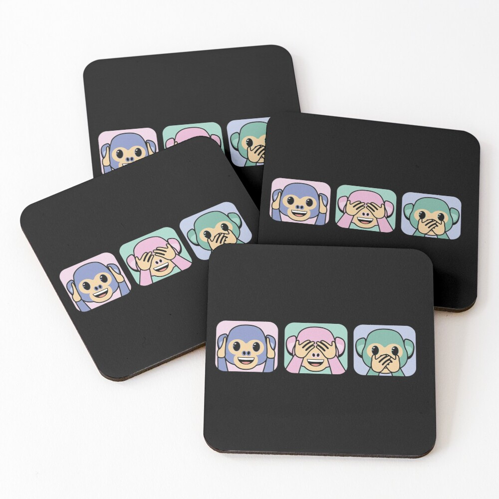 Three wise monkeys emojis Coasters (Set of 4)