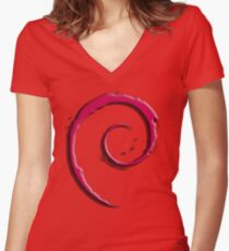 Debian Logo Women's Fitted V-Neck T-Shirt