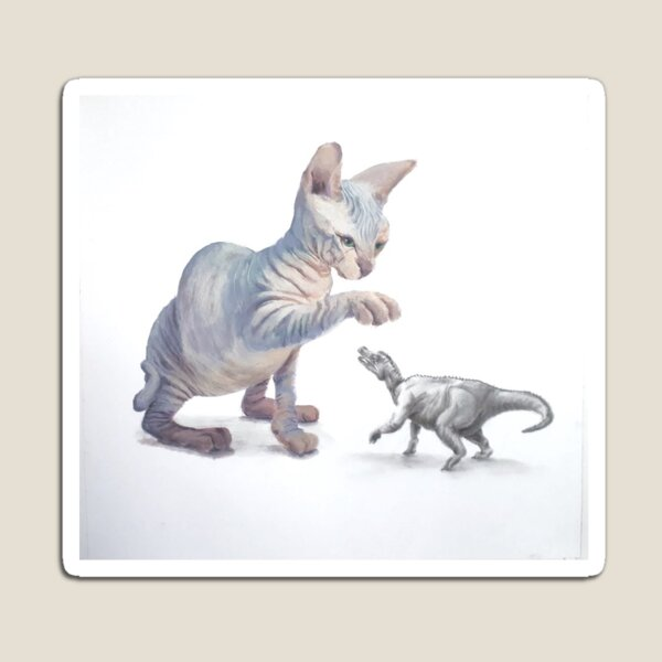 Cat and Dino Magnet
