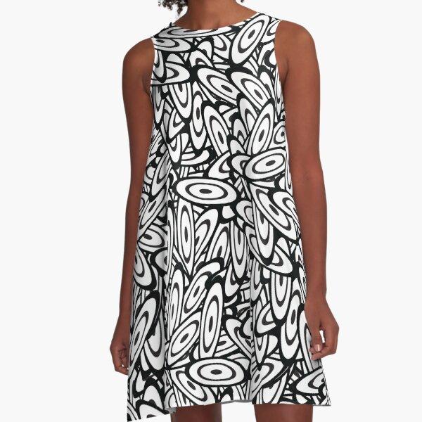 Psychedelic Black & White Vibe A-Line Dress