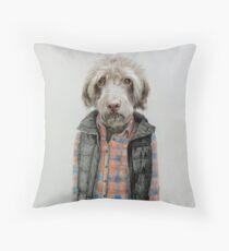 dog in shirt Throw Pillow