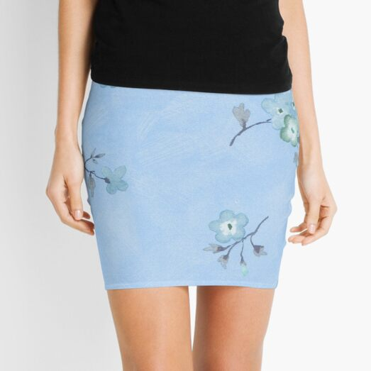 Smal Blue Flower Mini Skirt